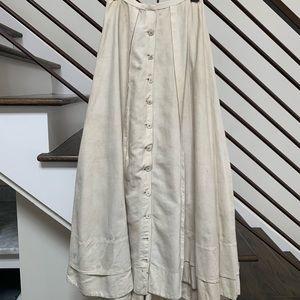 Ivory Vintage Linen Midi Skirt